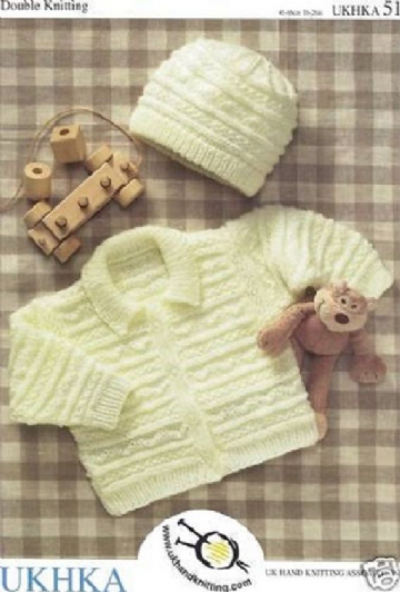 Childrens & Baby Double Knitting Pattern -JACKET & HAT UKHKA 51 -16-26in